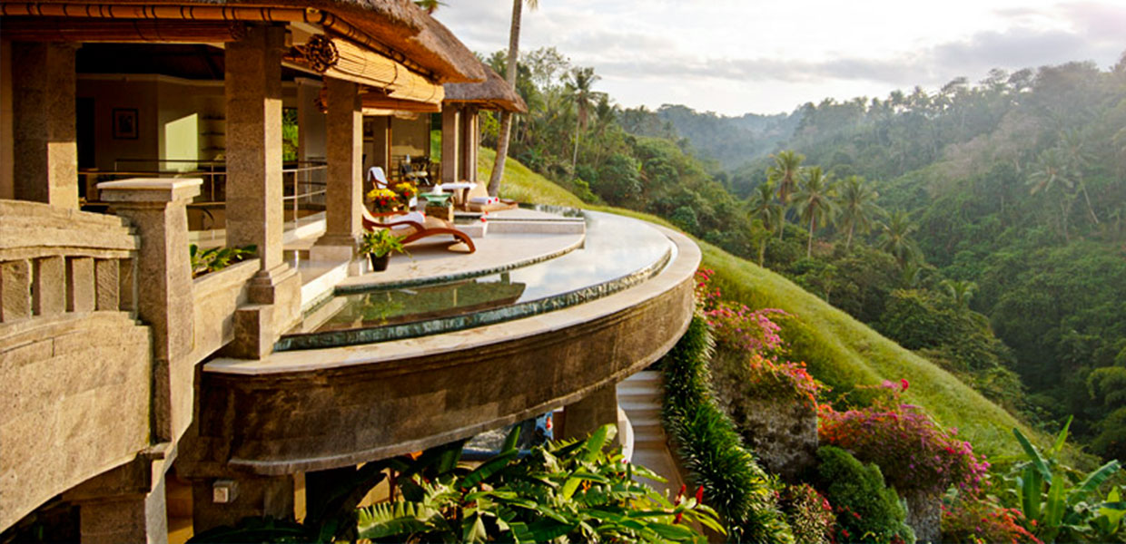Viceroy Hotel Balocony overlooking Ubud mountains