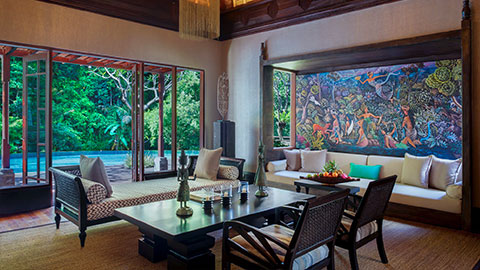 Mandapa private suite lounge room with pool and gardens