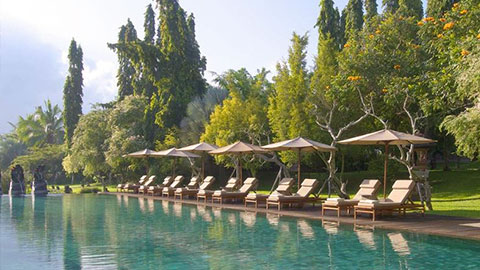 the chedi club pool lined with cream day beds and matching umbrellas