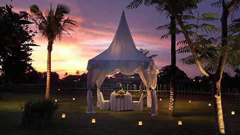 romantic private dinner arranged with garden lighting and private canopied marquee
